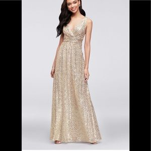 David's Bridal gold sequin bridesmaids gown 8